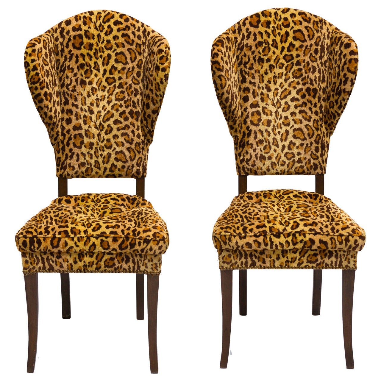 Cheetah Chair Pair Of Mid Century Leopard Print Occasional Chairs At 1stdibs