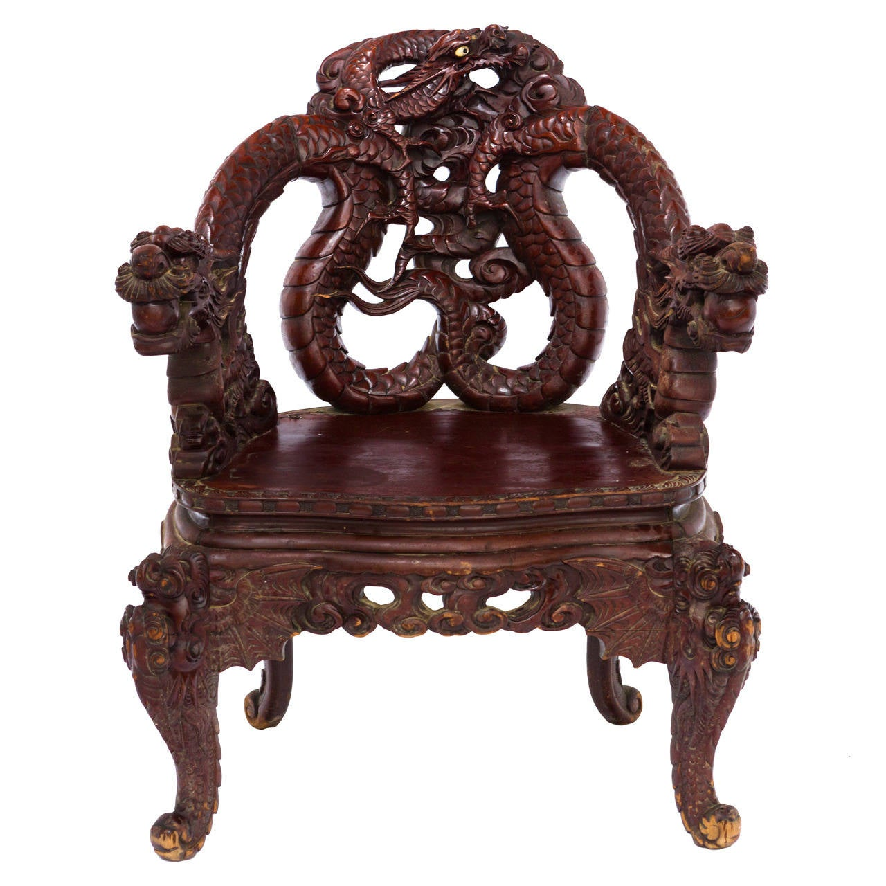 Dragon Chair Early 20th Century Carved Japanese Dragon Chair