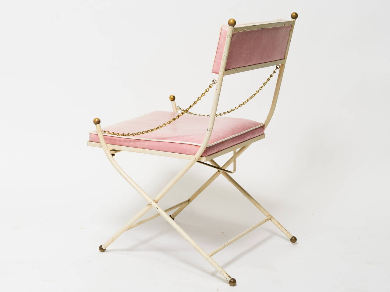 folding umpire chair laugh and learn pink iron classical at 1stdibs