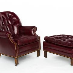 Red Club Chair Bean Bag Tufted Leather Lounge And Ottoman At 1stdibs