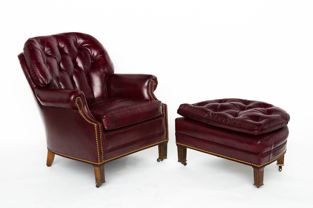 Tufted Leather Chair Tufted Red Leather Lounge Chair And Ottoman At 1stdibs