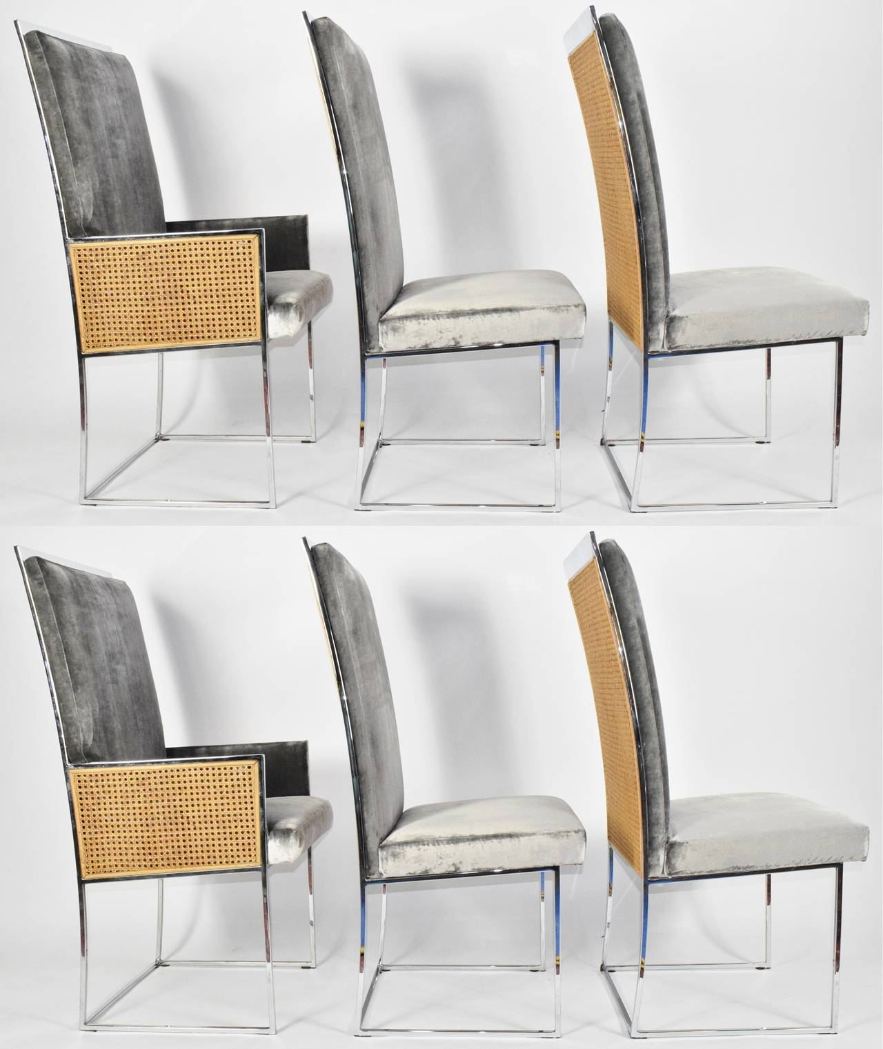 milo baughman dining chairs office chair with or without armrest six for thayer coggin at 1stdibs