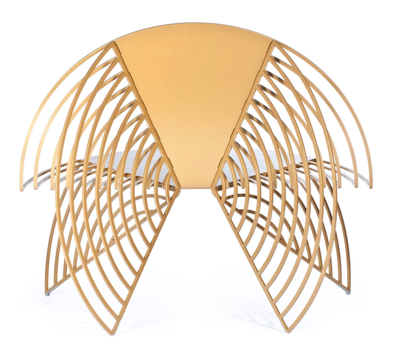 steel chair gold black metal chaise lounge golden wings of designed by laurie beckerman in 2012 american for sale