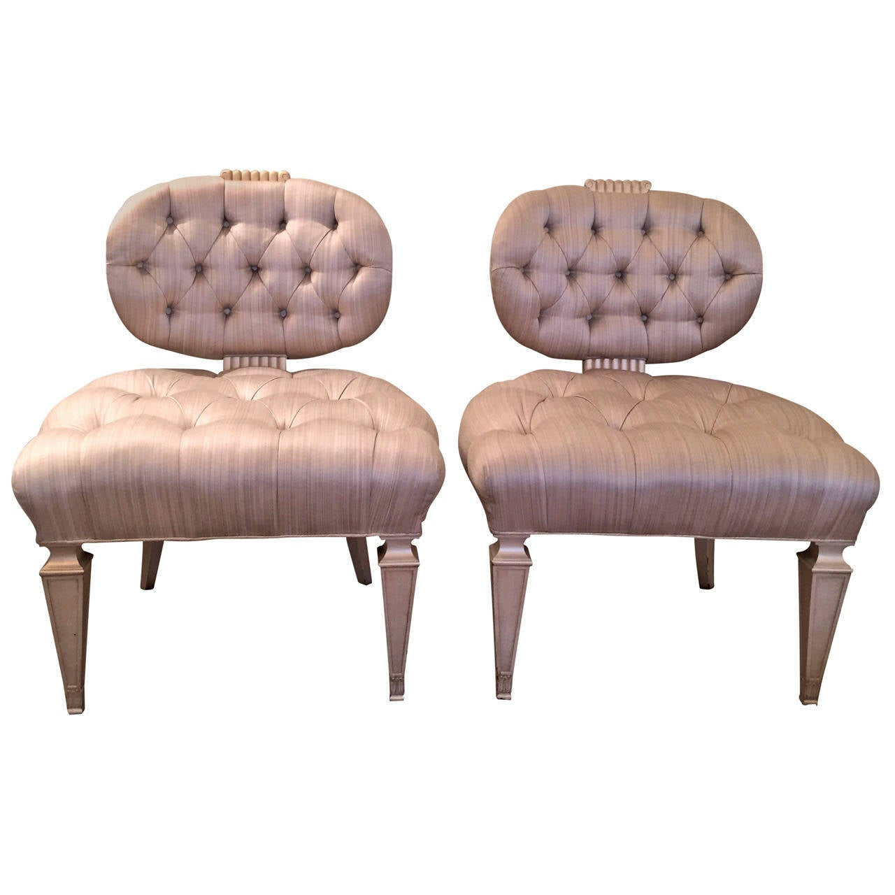 Tufted Slipper Chair Pair Of Grosfeld House Tufted Slipper Chairs For Sale At