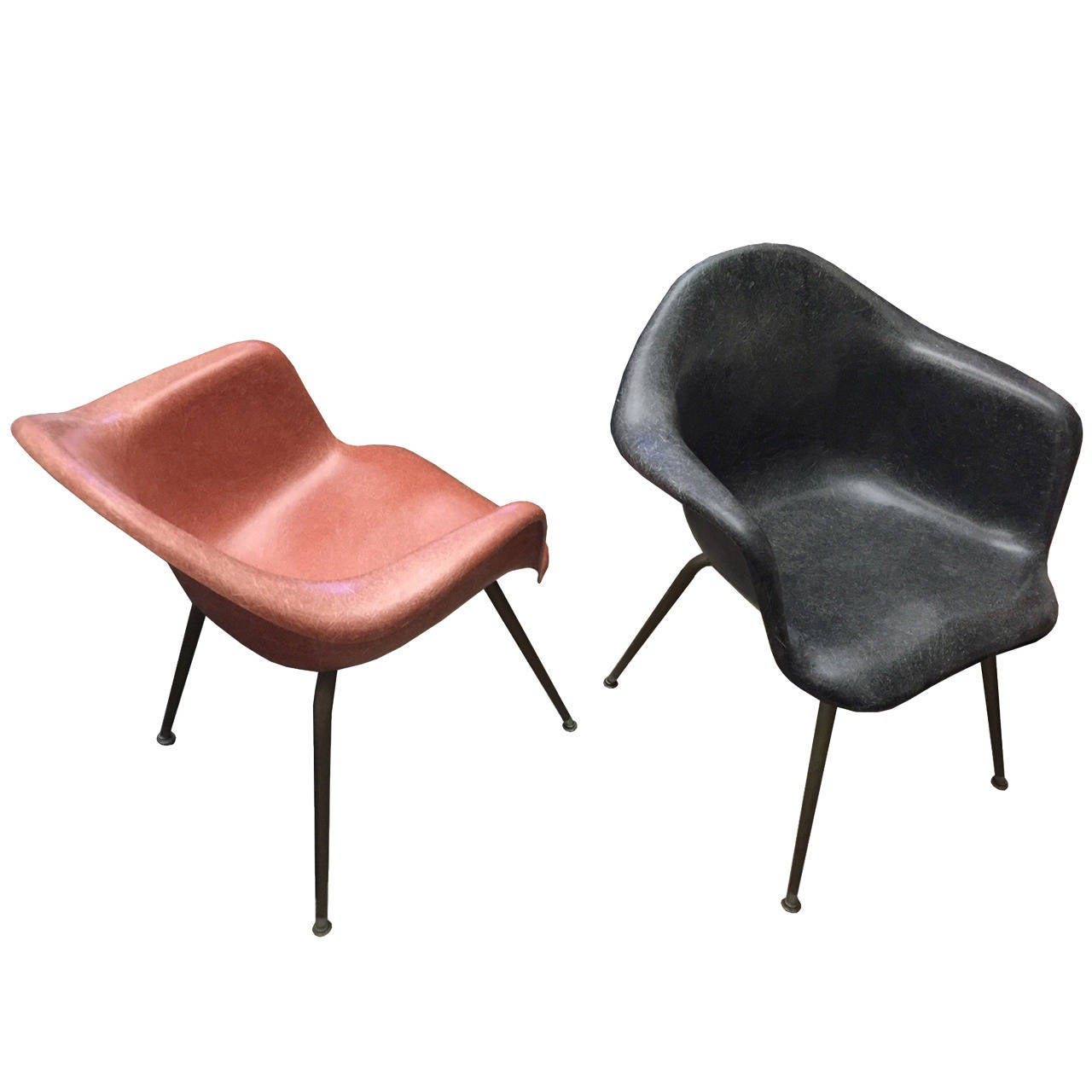 Chromcraft Chairs Mid Century Vintage Eames Era Fiberglass Shell Arm Chairs