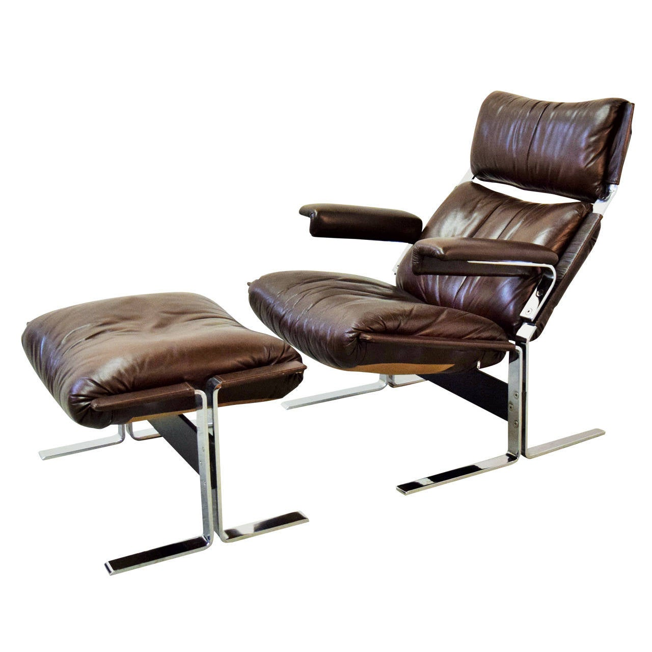 leather lounge chair with ottoman suede dining table chairs and by kipp stewart at 1stdibs