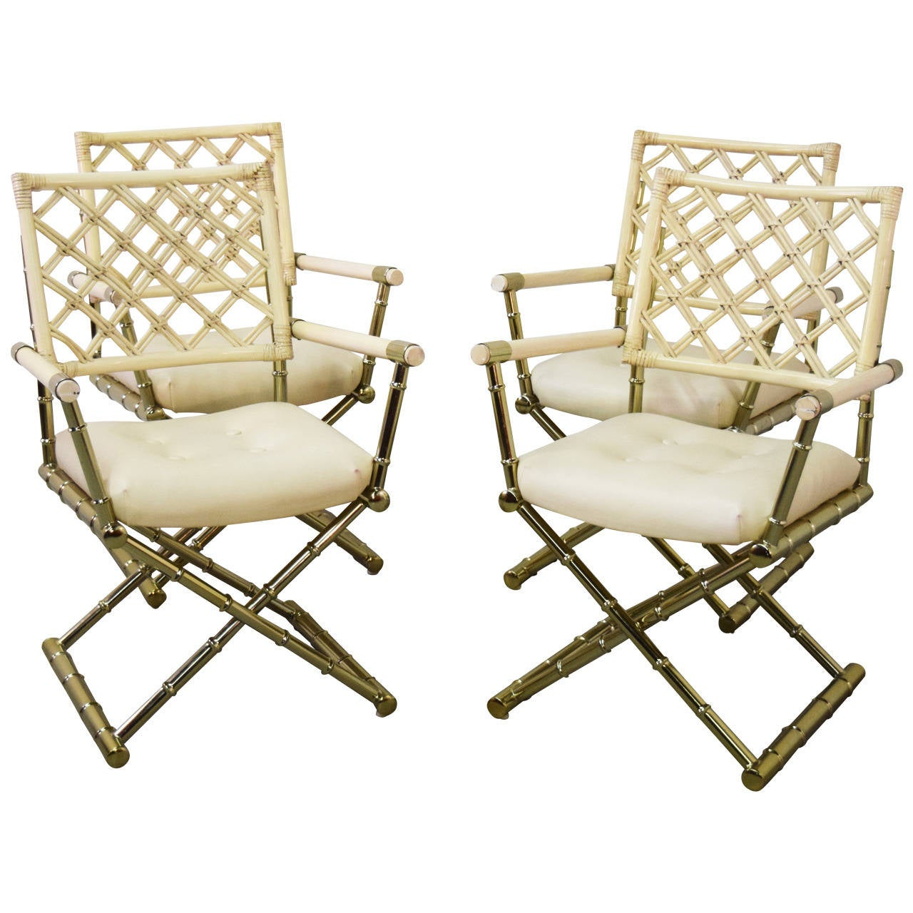 bamboo directors chairs electric chair pictures set of four faux brass and rattan