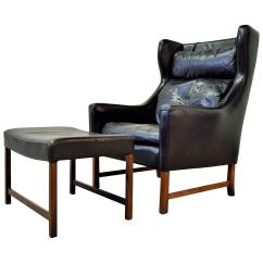 High Back Wing Chairs Disposable Folding Chair Covers Fredrik Kayser Leather And Ottoman At