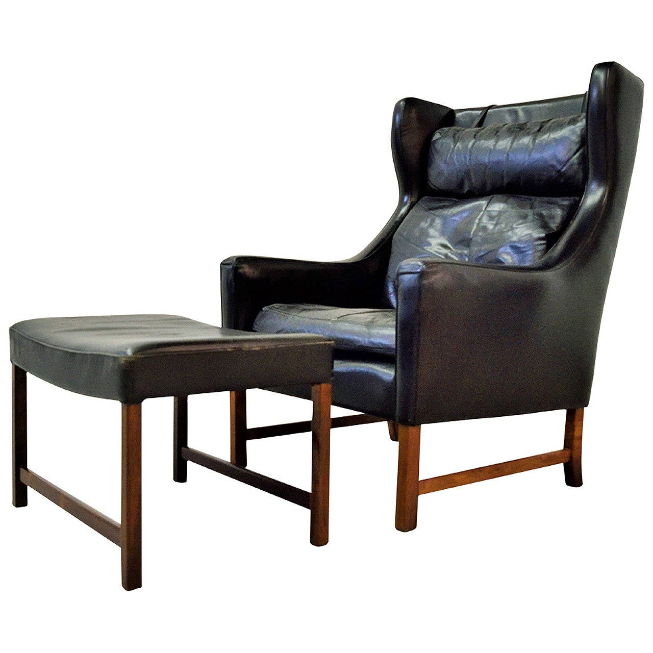 High Back Wing Chair Fredrik Kayser High Back Leather Wing Chair And Ottoman At