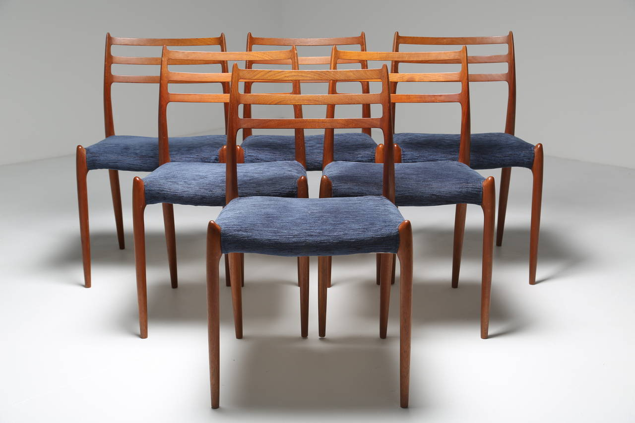 danish dining chair jenny lind high for sale set of six niels moller no 78 vintage teak chairs at mid century modern