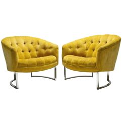 Tufted Yellow Chair Toddler High Chairs And Chrome Baughman Style Lounge At