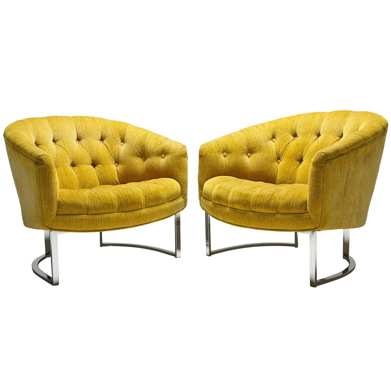 Yellow Chairs Yellow And Chrome Baughman Style Tufted Lounge Chairs At