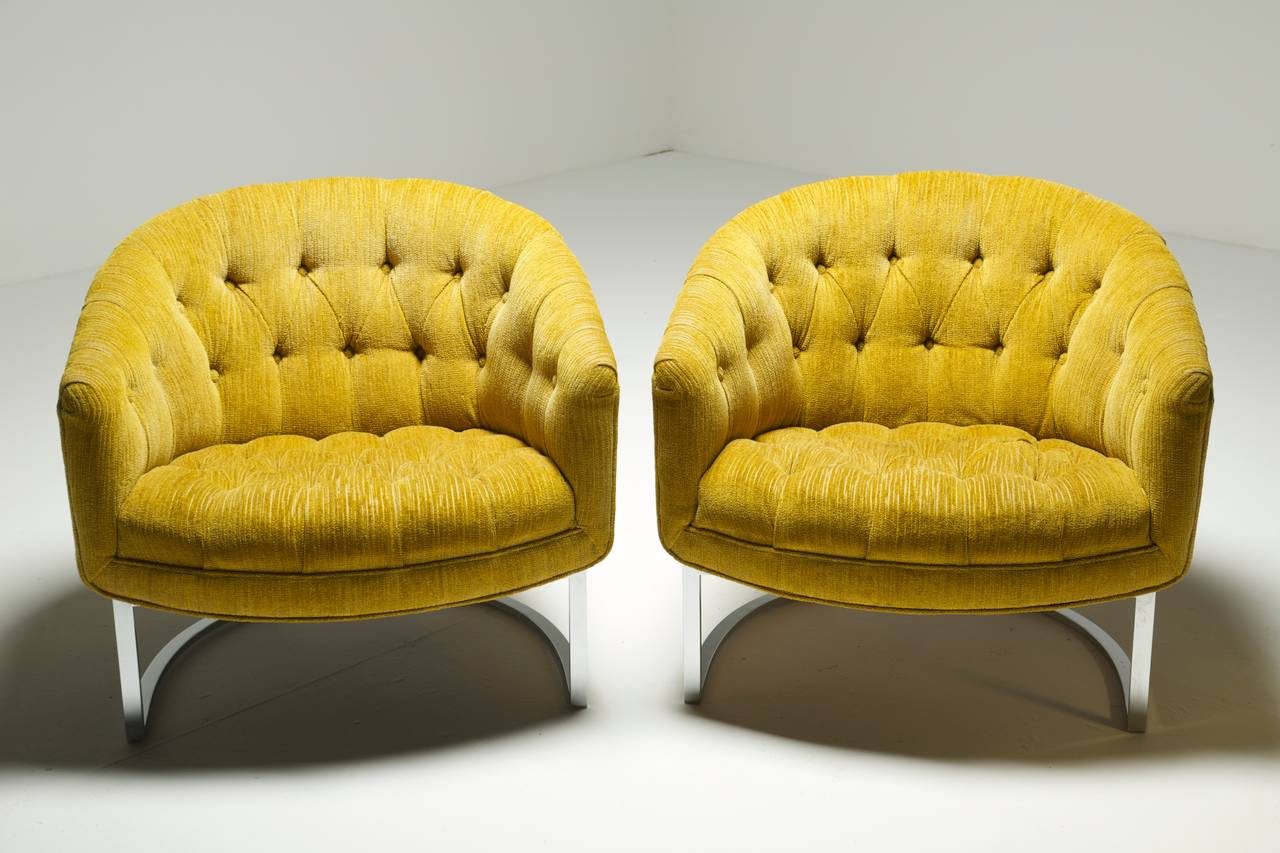 tufted yellow chair office chairs nj and chrome baughman style lounge at
