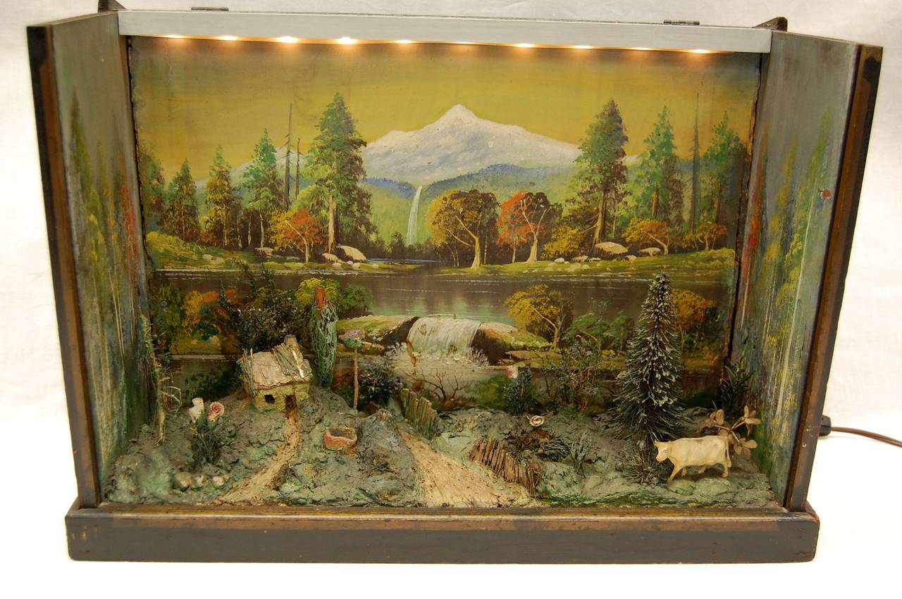Antique Diorama of American Farm Scene with Cow Farmhouse