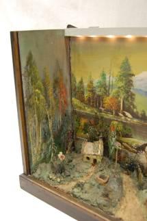 Antique Diorama Of American Farm Scene With Farmhouse