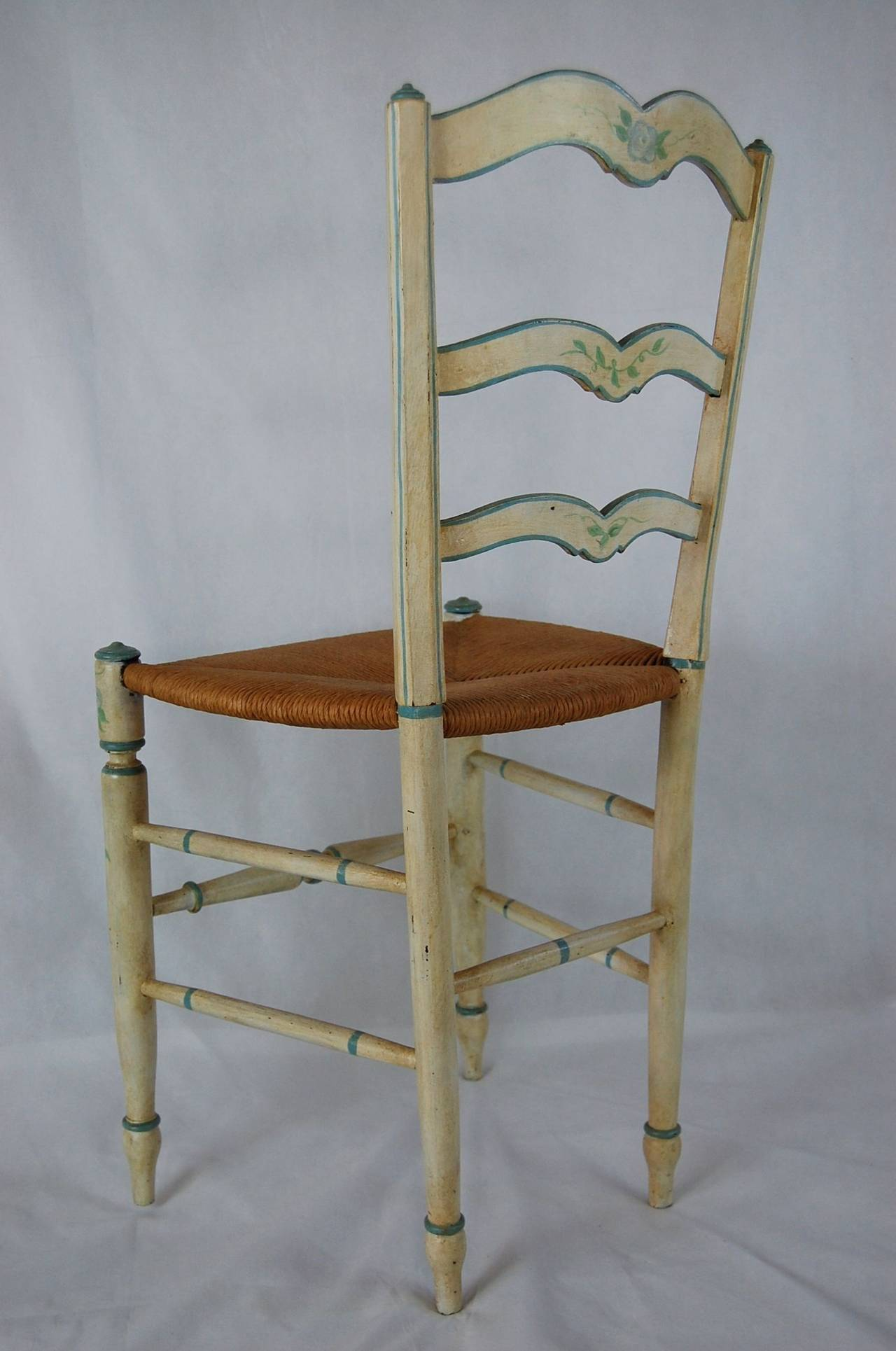 rush seat chairs posture improving chair painted side at 1stdibs