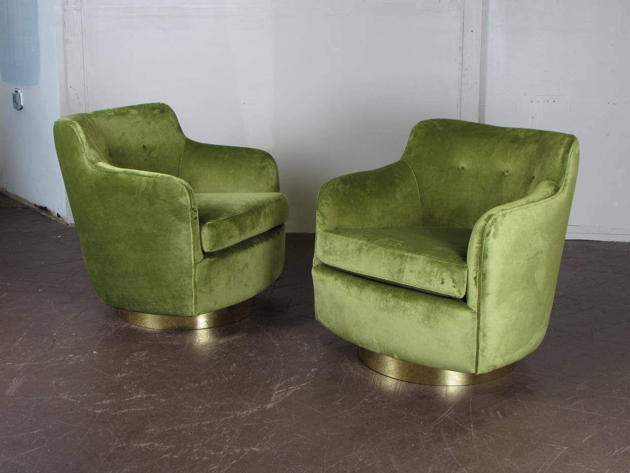 green velvet swivel chair dining chairs vintage high back in and bronze by milo