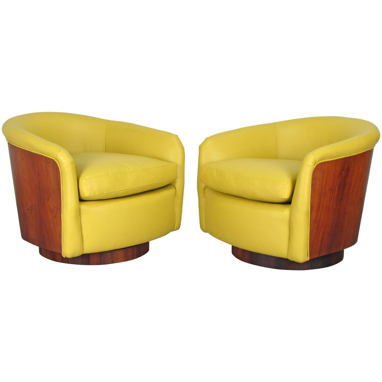 swivel tub chairs pride parts rare rosewood wrapped in leather by milo