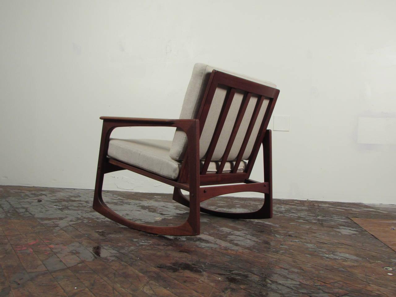 danish modern rocking chair flat bean bag jacob kjaer teak at 1stdibs