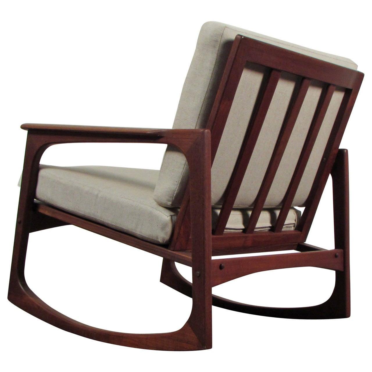 danish modern rocking chair antique blue dining chairs jacob kjaer teak at 1stdibs
