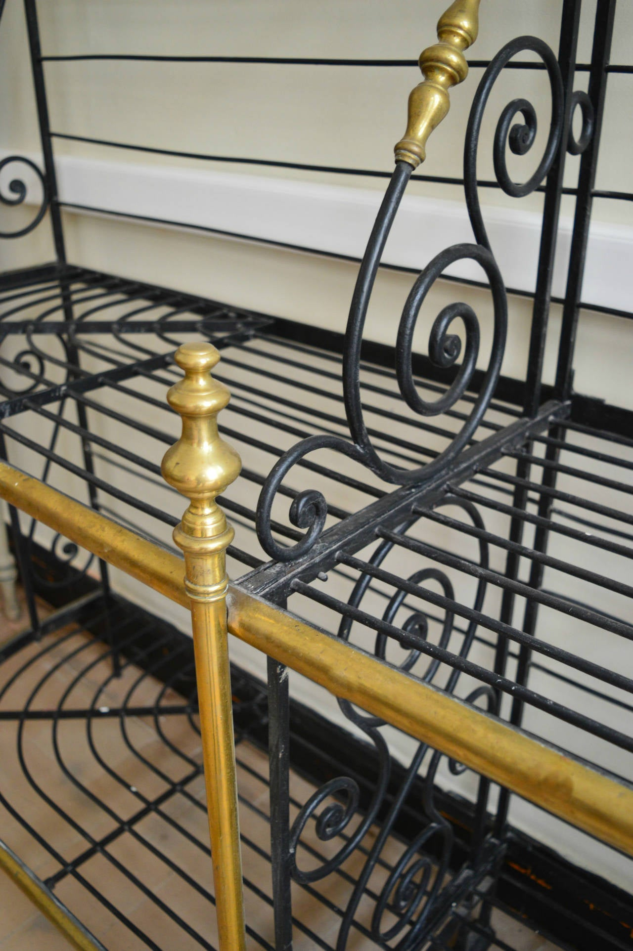 Large 19th Century French Iron and Brass Bakers Rack Stamped By The Maker For Sale at 1stdibs