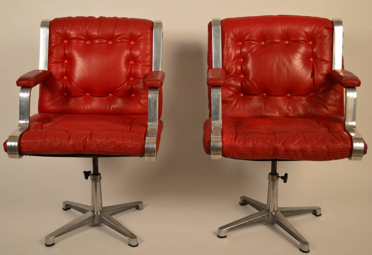 Red Leather Swivel Chair Vintage Swedish 1960 S Polished Cast Aluminum And Red Leather Swivel Chairs
