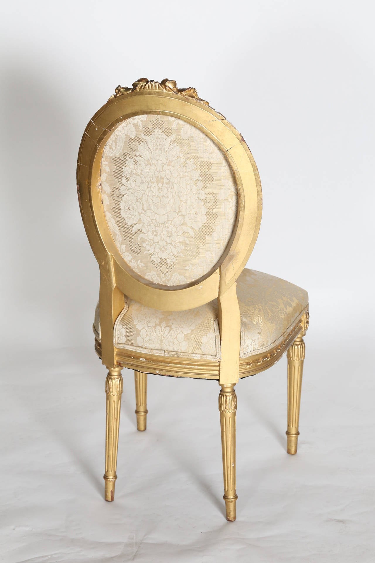 small scale upholstered dining chairs glider chair target single louis xvi style gilt side at 1stdibs