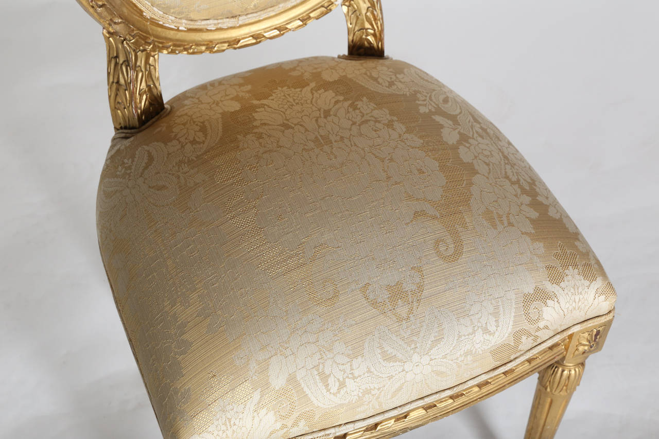 small scale upholstered dining chairs bloomingdales single louis xvi style gilt side chair at 1stdibs