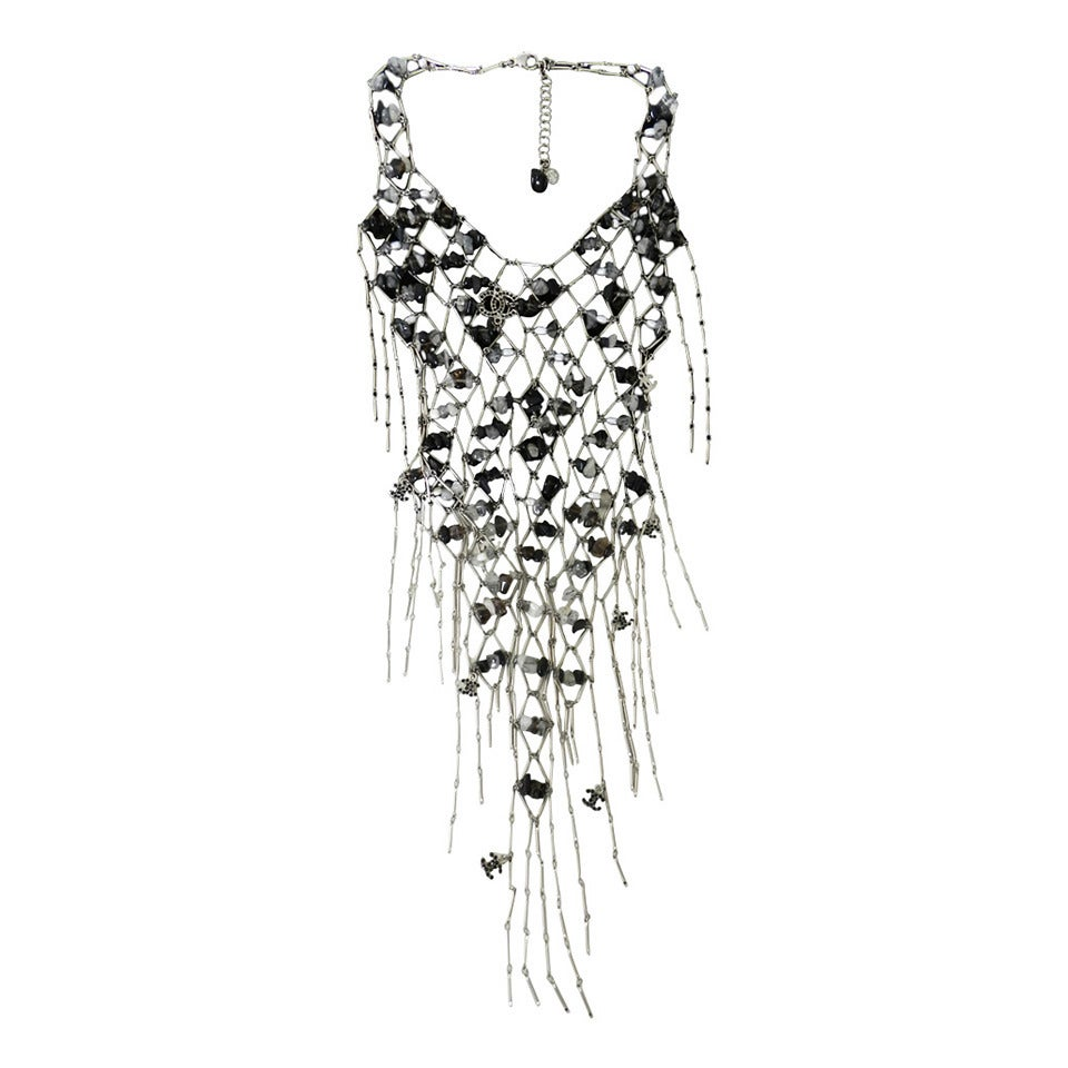 Chanel 11C beaded fringed bib necklace at 1stdibs