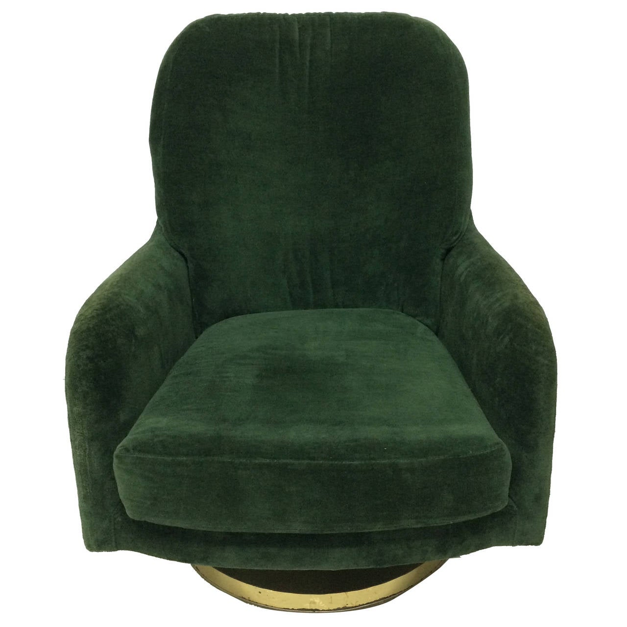 green velvet swivel chair cover hire edinburgh prices original milo baughman lounge for thayer