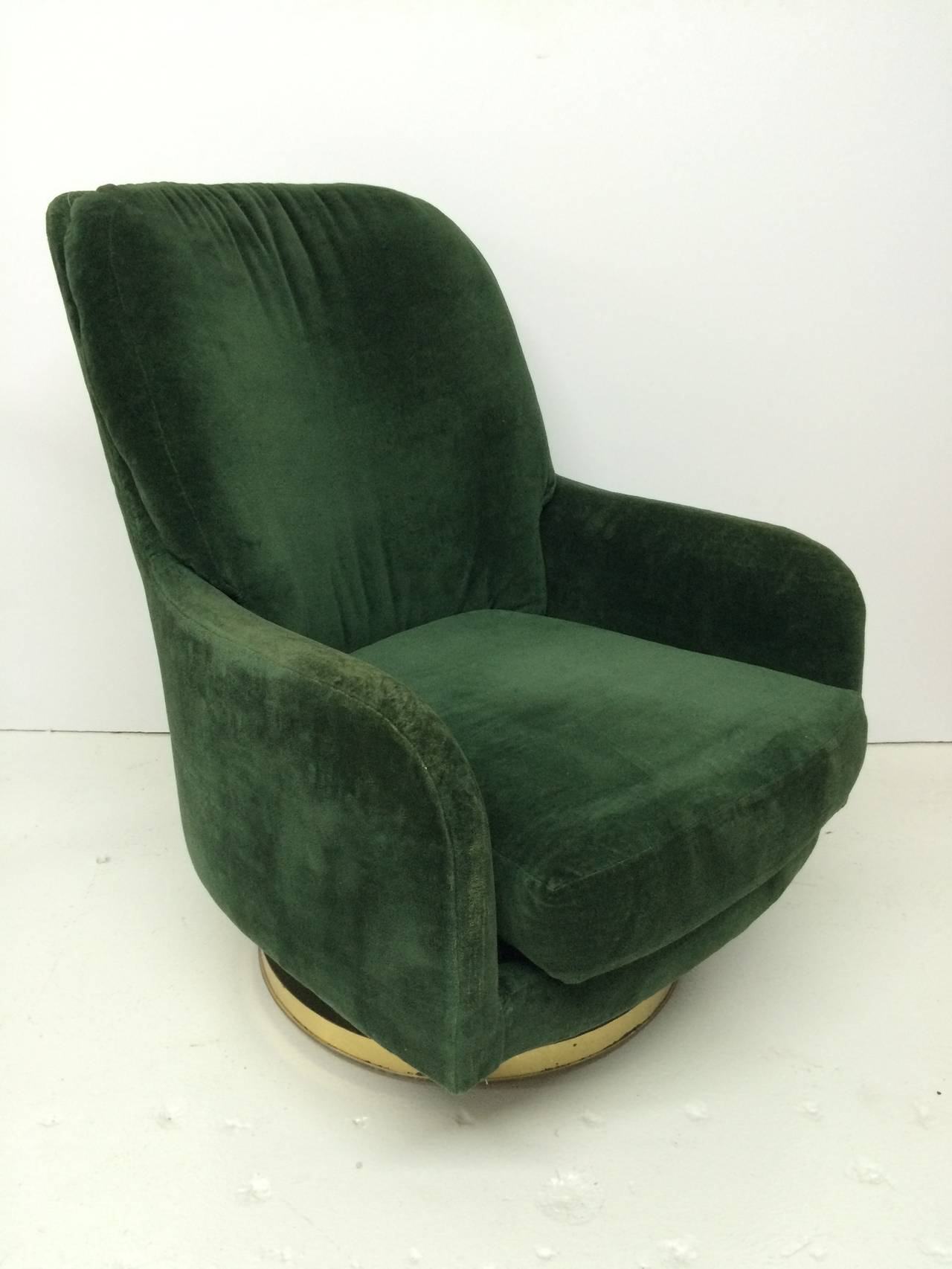 green velvet swivel chair kids pedicure original milo baughman lounge for thayer