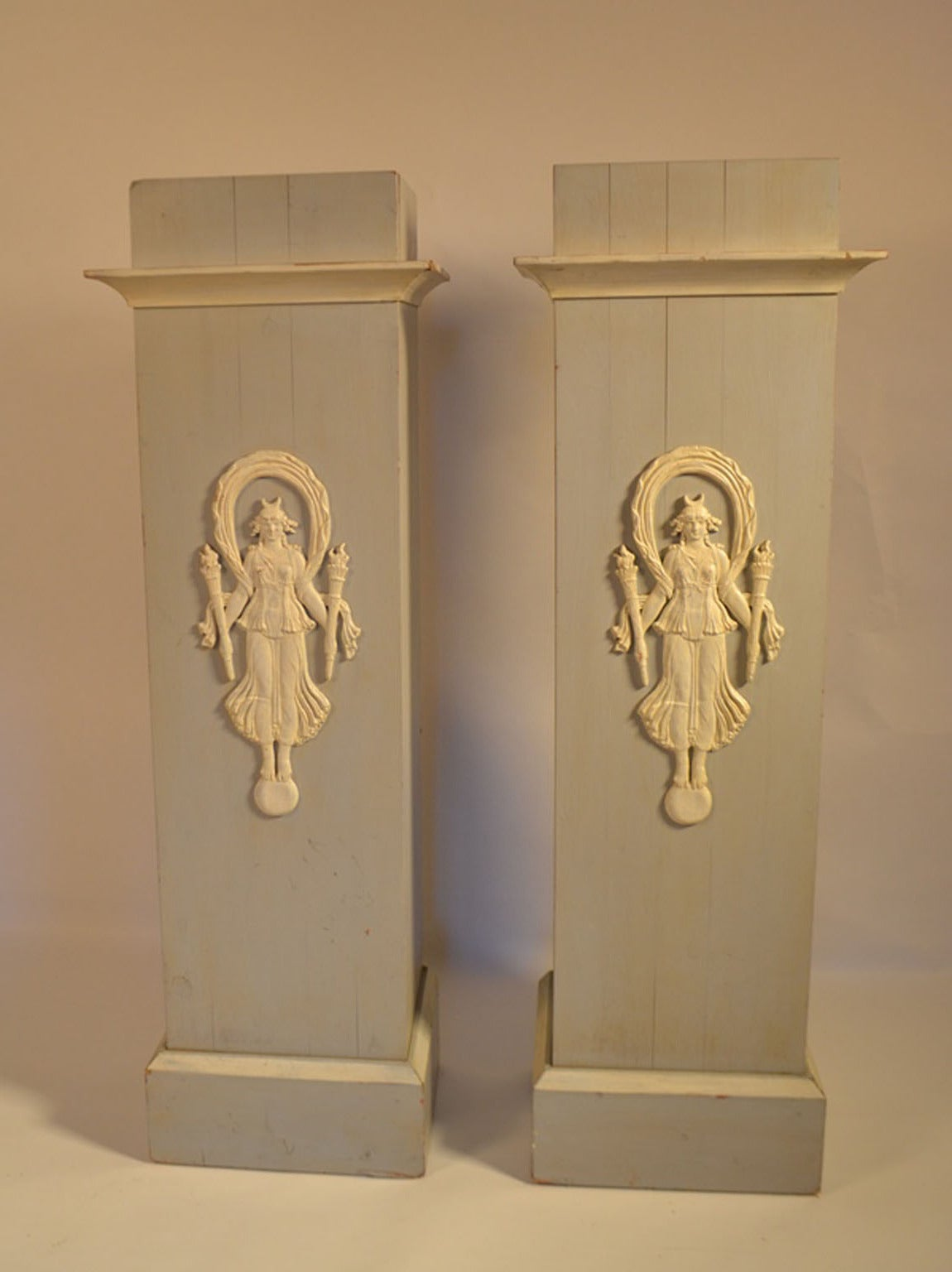 Pair Of Decorative Painted French Pedestals With Carved