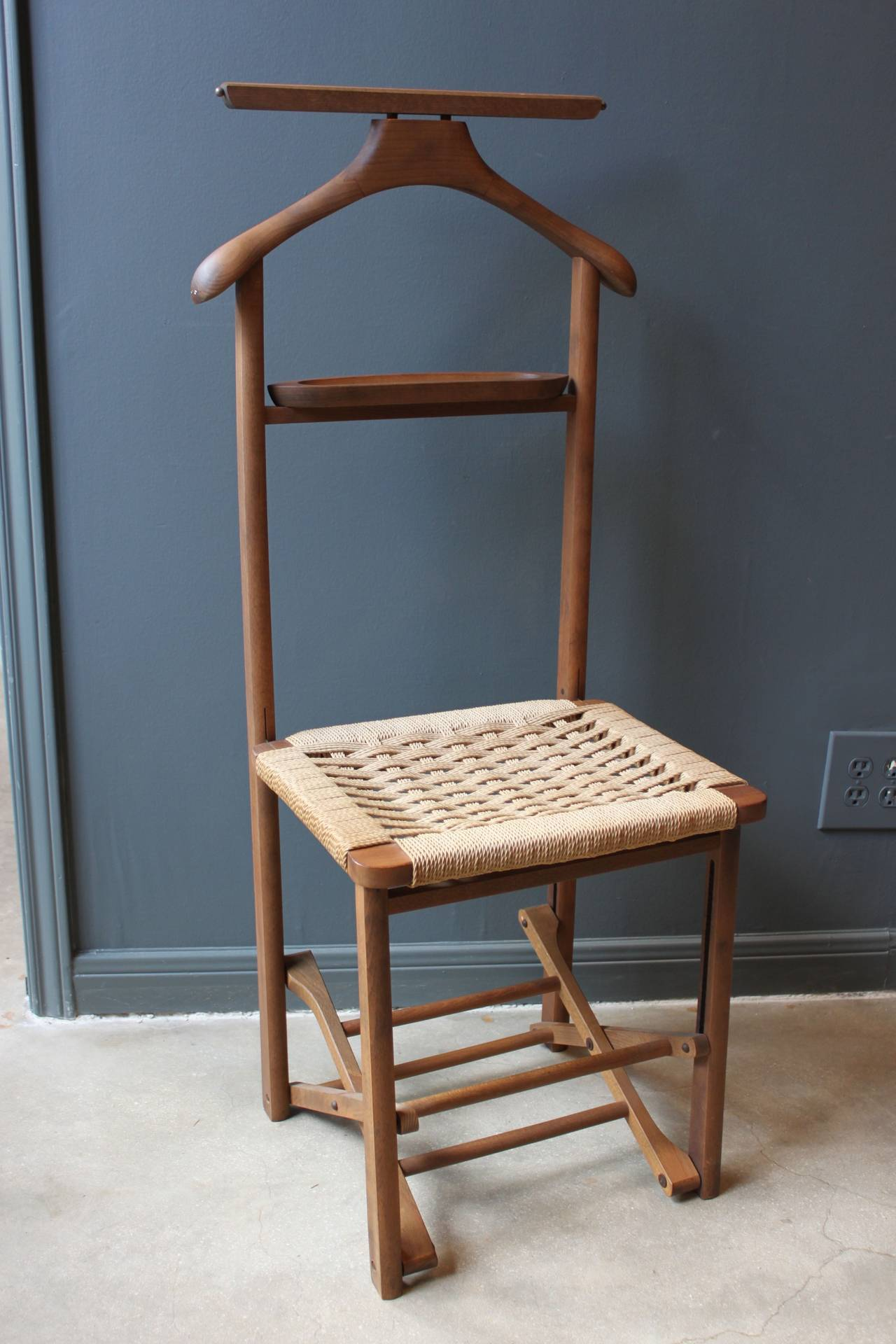 Antique Wooden Chair Vintage Wood Valet Folding Chair With Woven Caned Seat