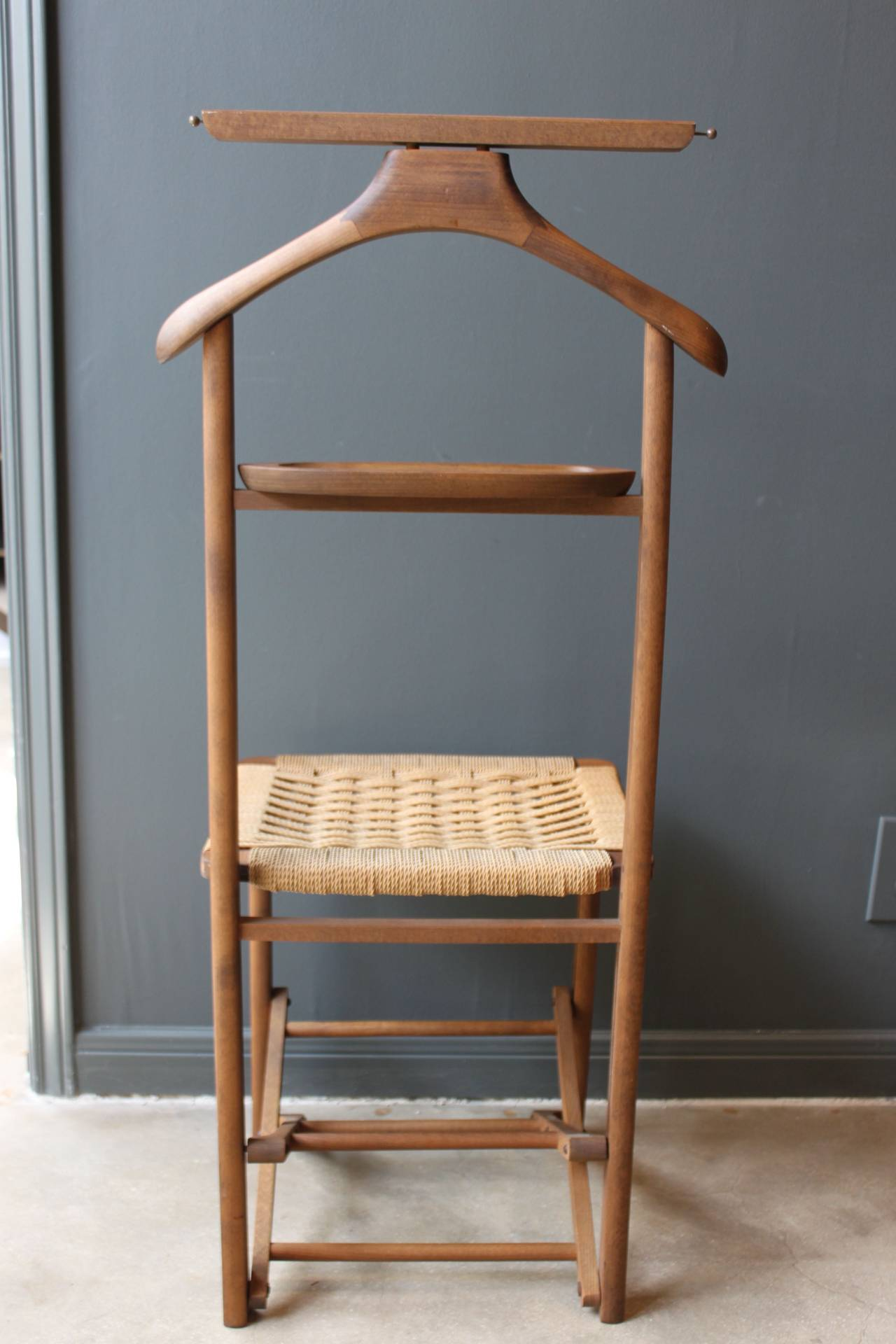 antique folding chair wedding covers hire darlington vintage wood valet with woven caned seat