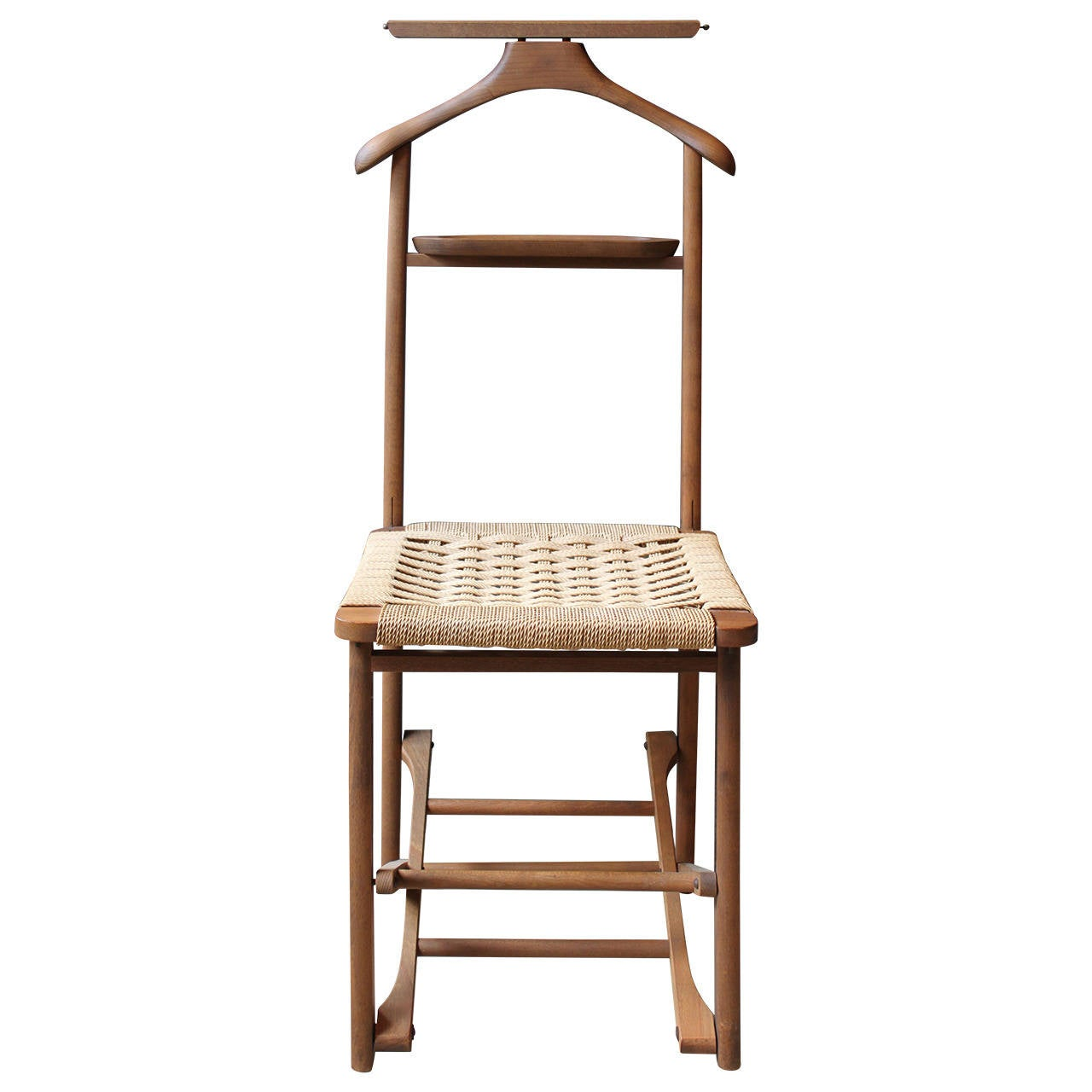 Valet Chair Vintage Wood Valet Folding Chair With Woven Caned Seat