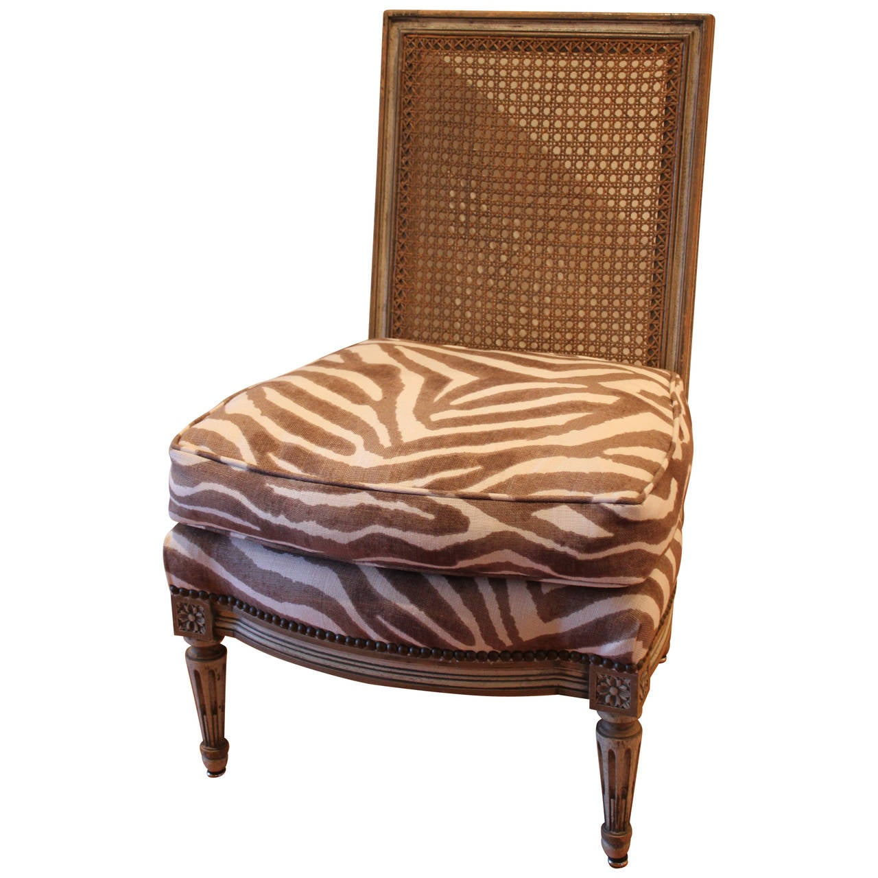 upholstered slipper chair barcelona uk louis xvi style caned back with