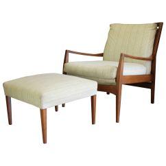 Teak Lounge Chair Wicker Rocker Mid Century Modern Danish And Ottoman At