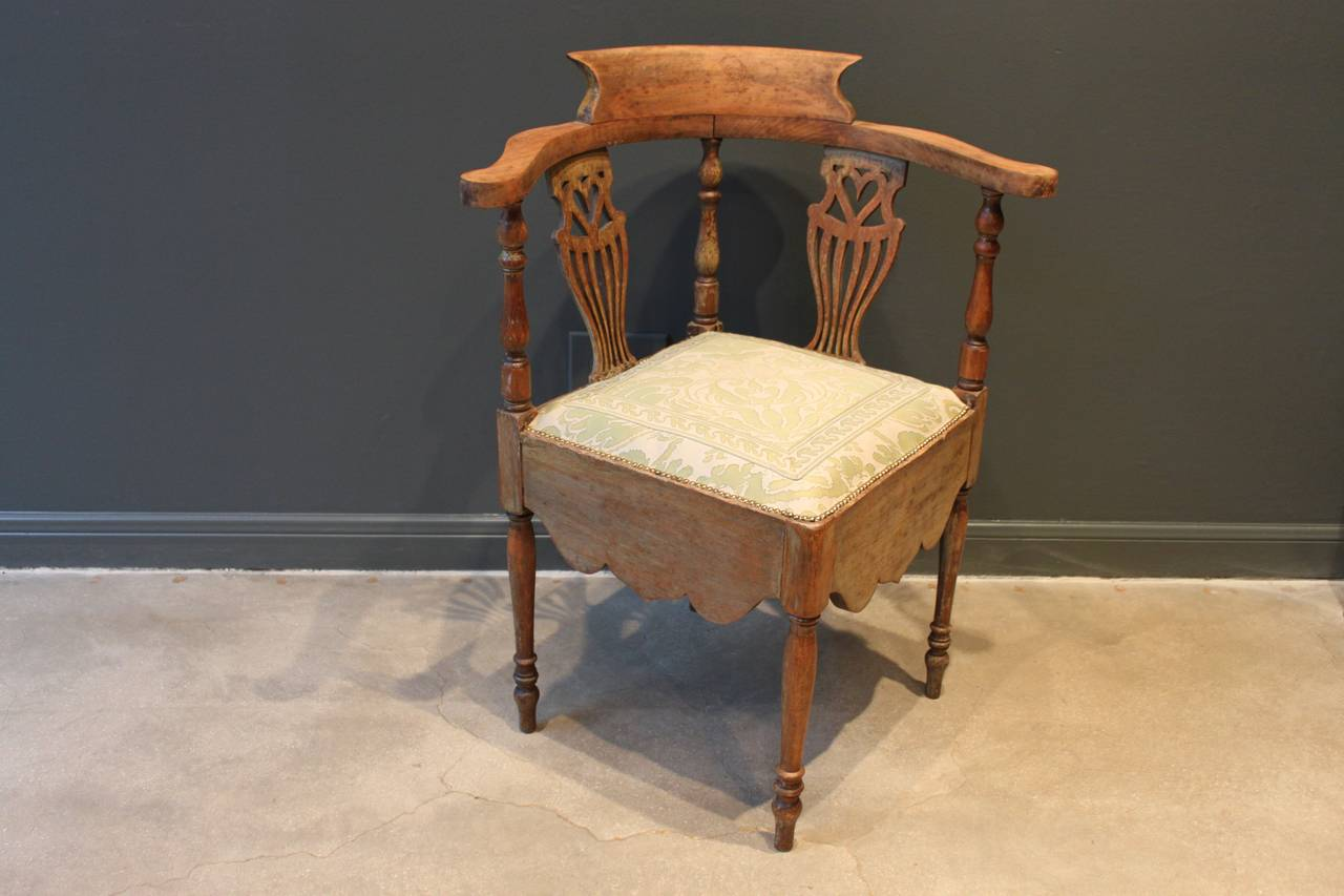 antique round back corner chair parson covers canada with pierced splat of heart and fortuny