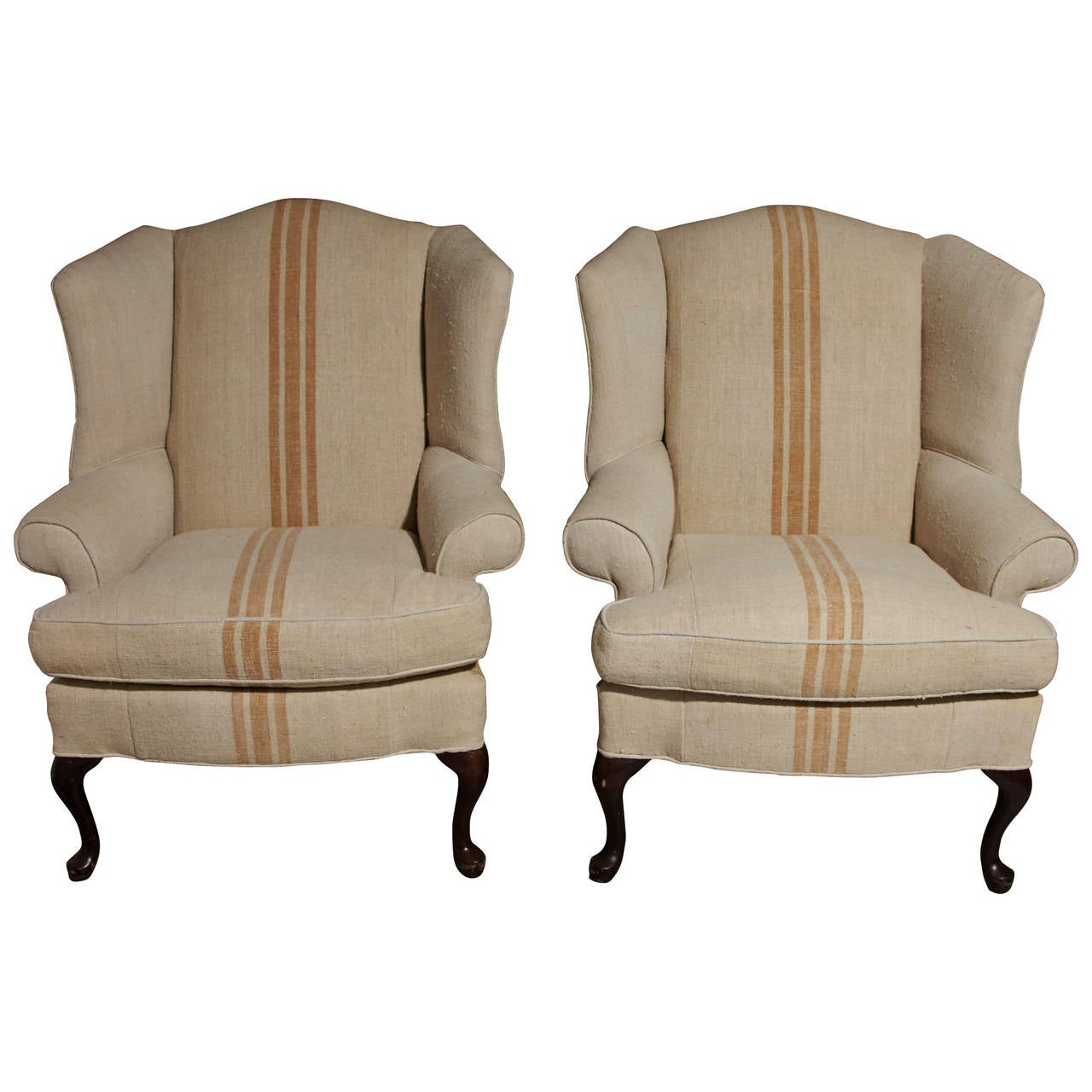 Queen Anne Wingback Chair Pair Of Queen Anne Style Wingback Chairs At 1stdibs