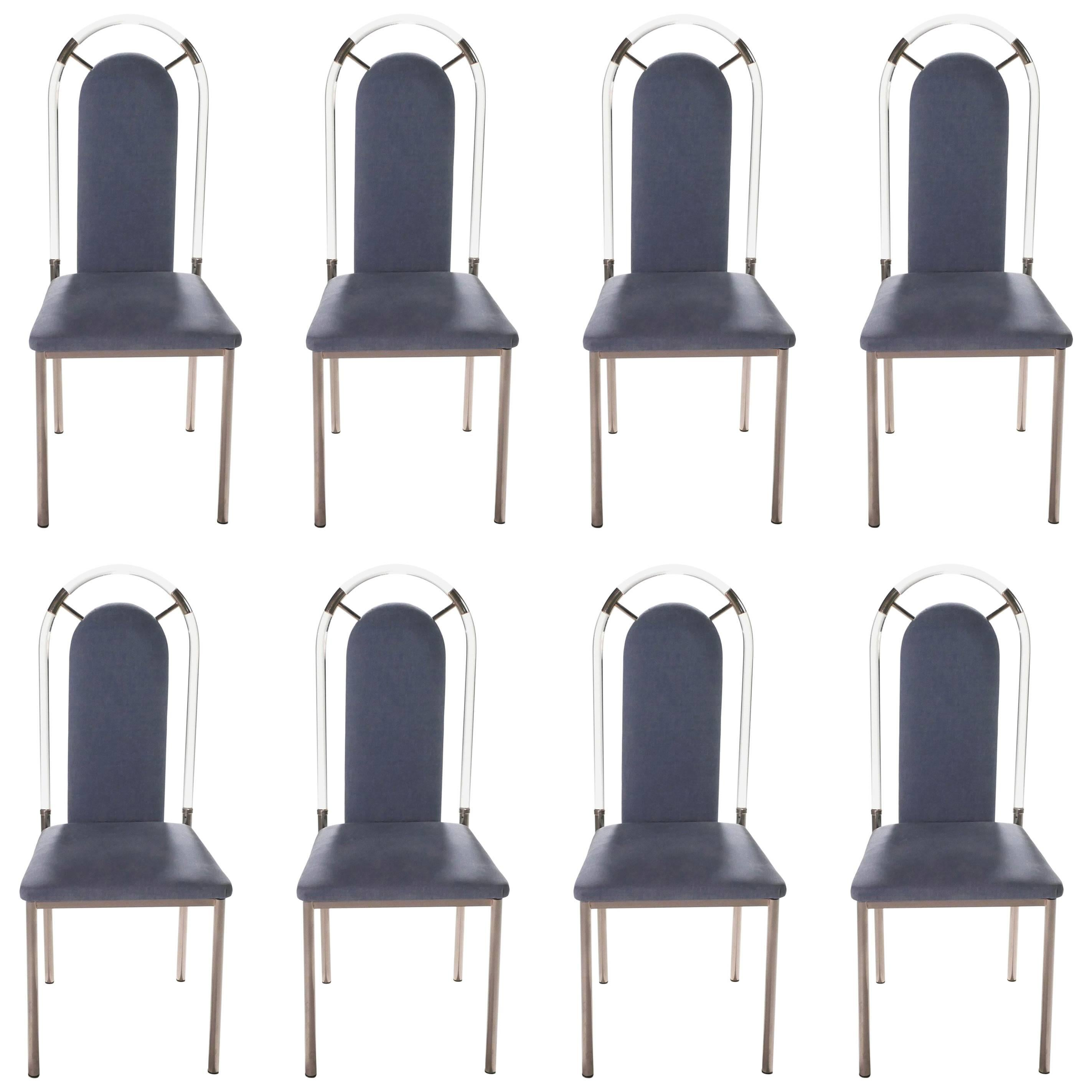 Plexiglass Chairs Set Of Eight Chairs Plexiglass And Gunmetal By Maison Jansen 1970s