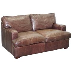 Sofas Laura Ashley Furniture Red Leather Modular Sectional Sofa Vintage Heritage Brown Two Seat Compact Arms At 1stdibs