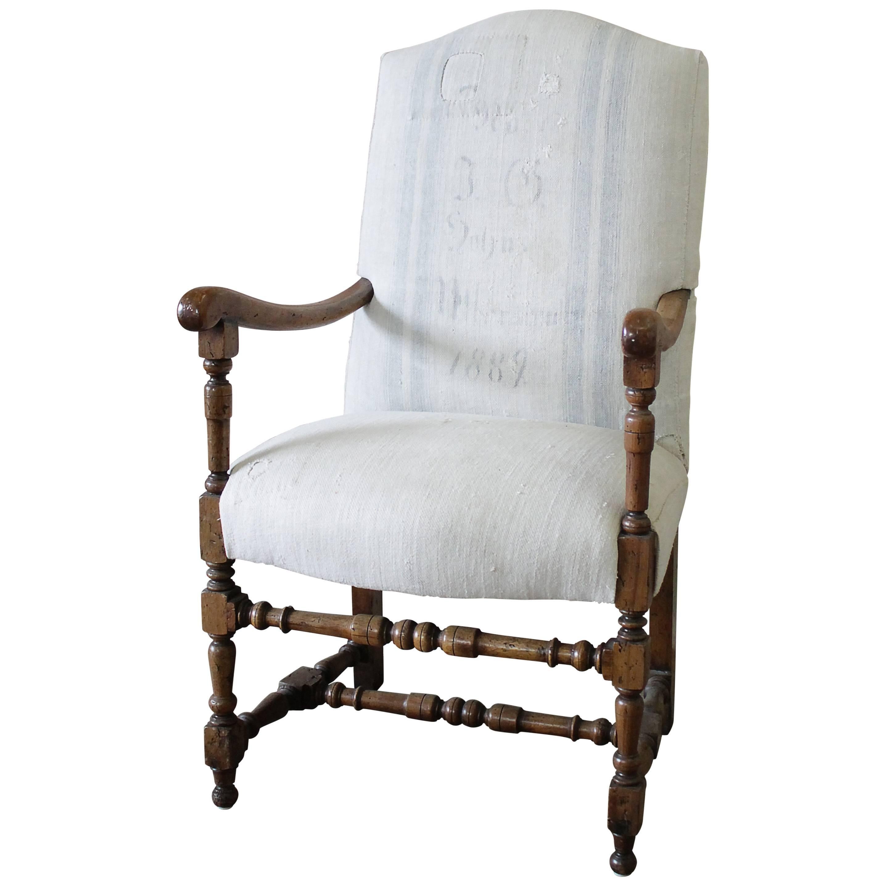 Grain Sack Chair Antique Accent Chair Upholstered In Antique Swedish Grainsack
