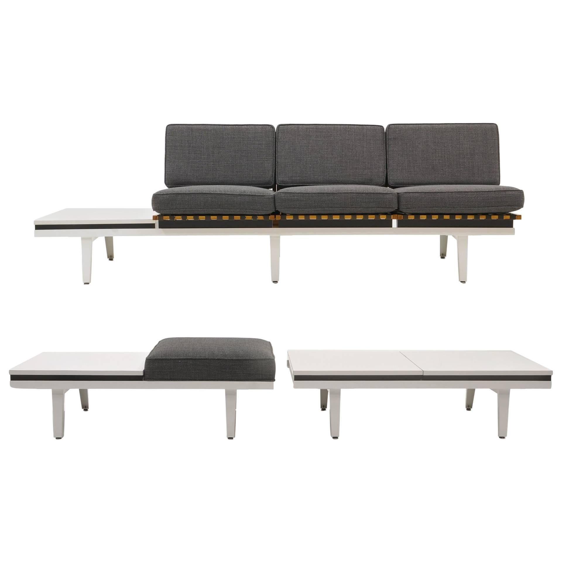 steel frame sofa second hand for sale bench and coffee table by george nelson herman miller