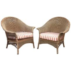 Comfortable Wicker Chairs White Outdoor Chair Pair Of For Sale At 1stdibs