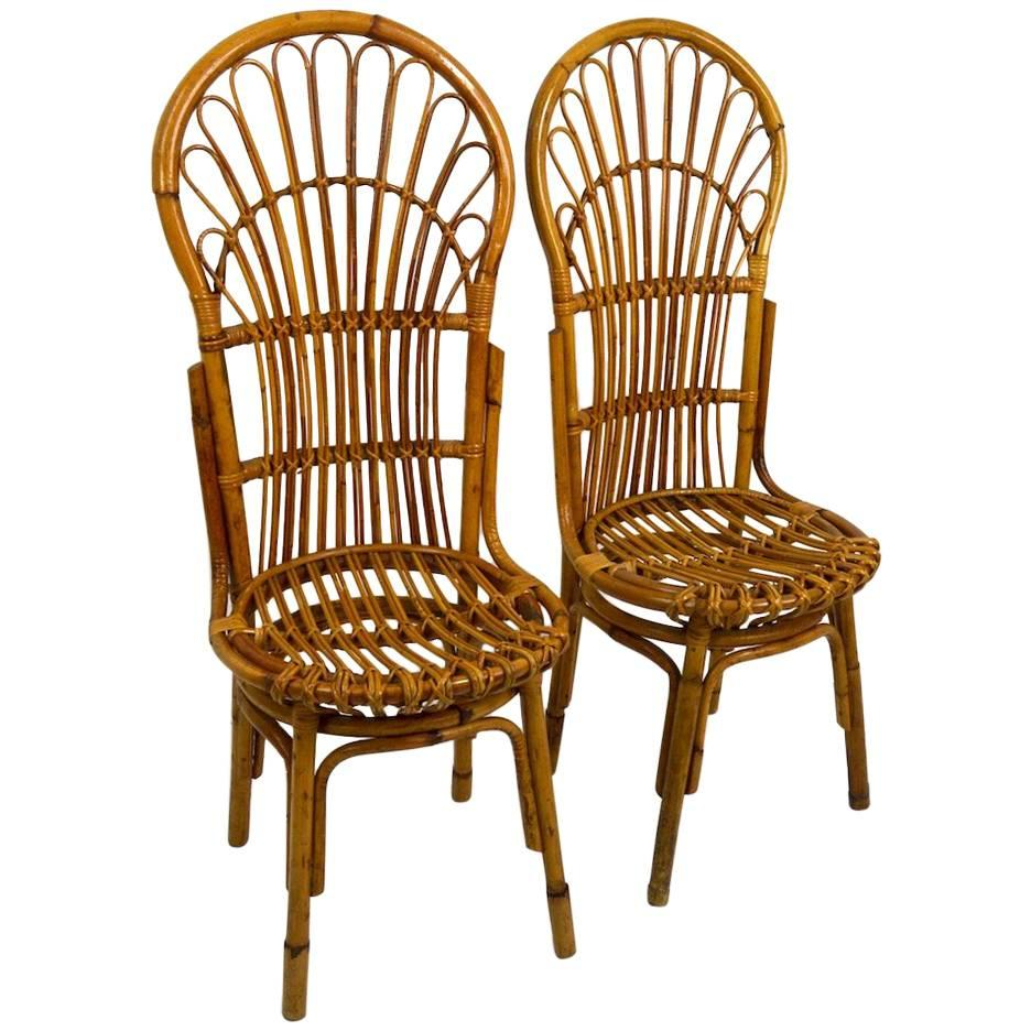 Bamboo Chairs Pair Of Exaggerated Form High Back Bamboo Chairs After Albini