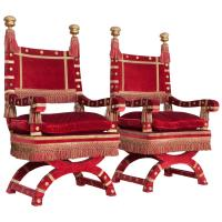 Red Velvet Italian Throne Chairs For Sale at 1stdibs