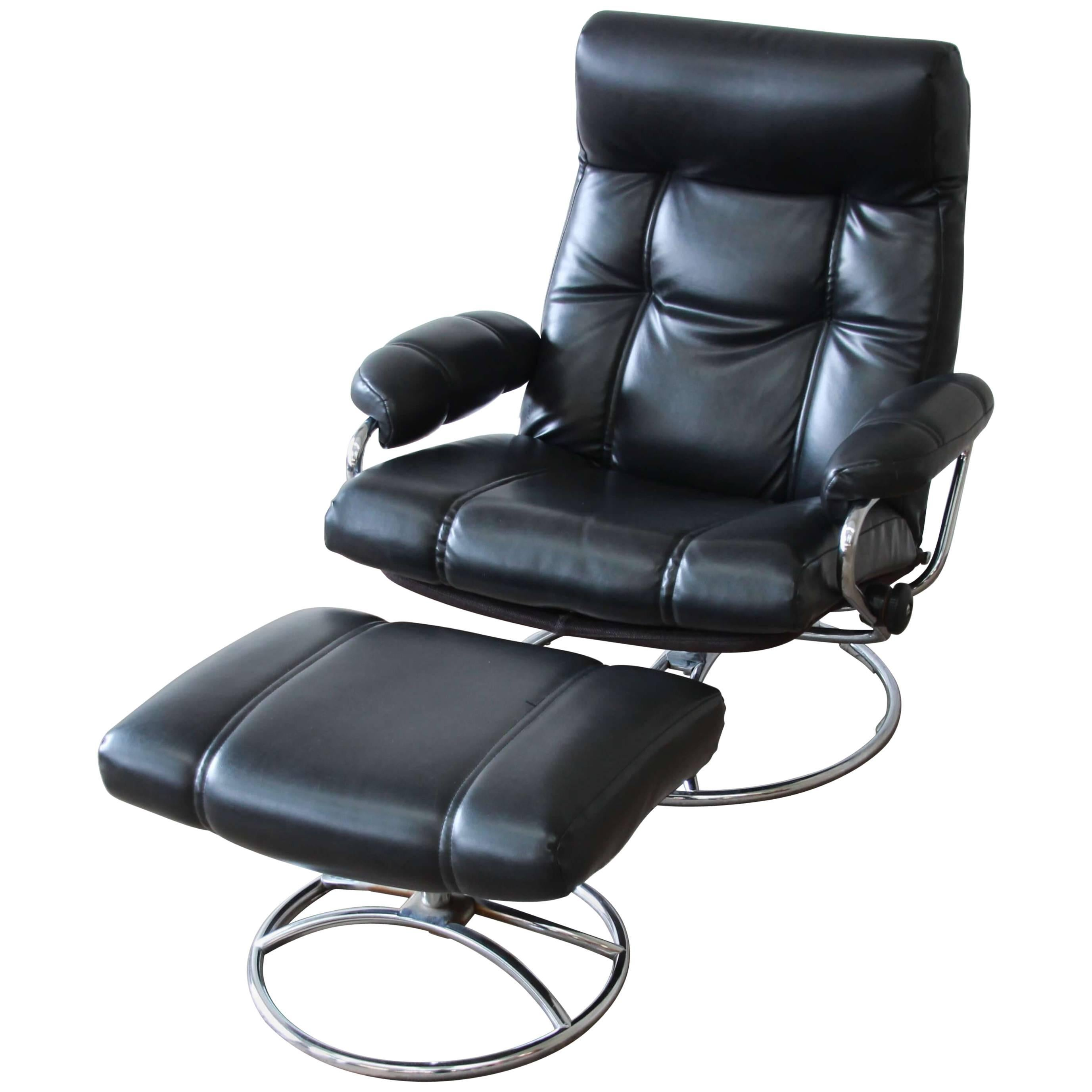stressless chair sale tall desk vintage black ekornes and ottoman at 1stdibs for