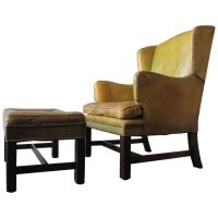 Antique Small Patinated Leather English Wing Armchair with ...