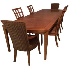 Maple Kitchen Table Gadget Store Magnificent Very Long Dining And Six Matching Chairs By Henredon For Sale
