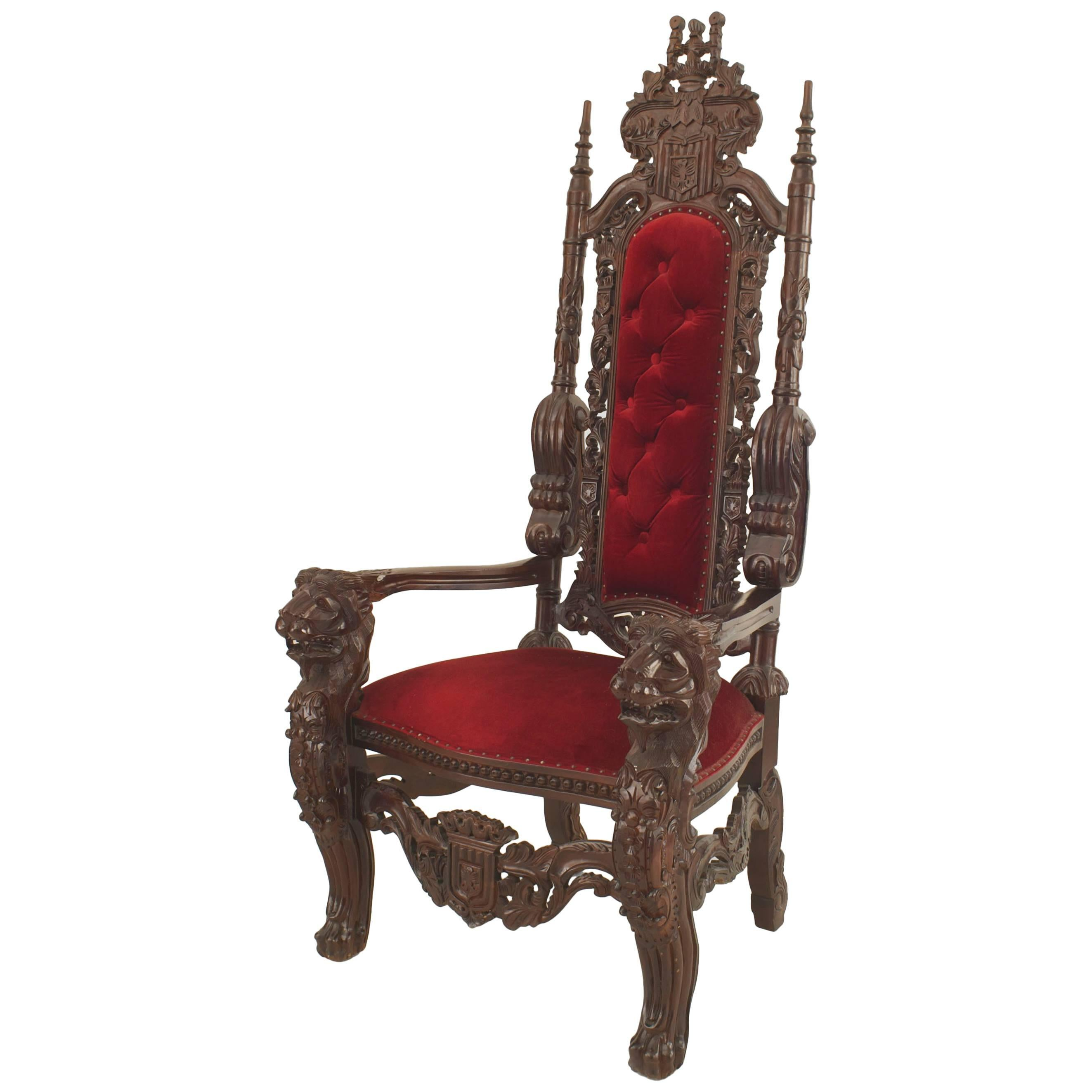 kings chair for sale wooden porch rocking chairs italian renaissance style 20th century mahogany throne